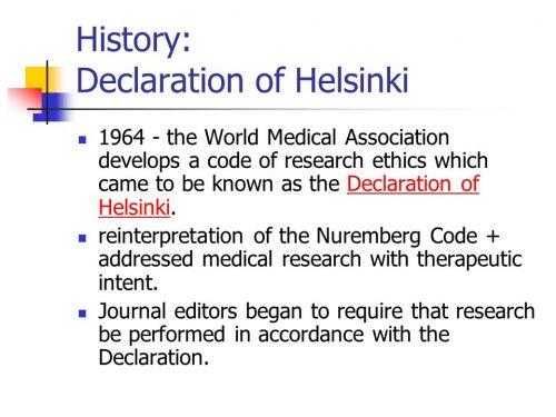 History of the Declaration of Helsinki