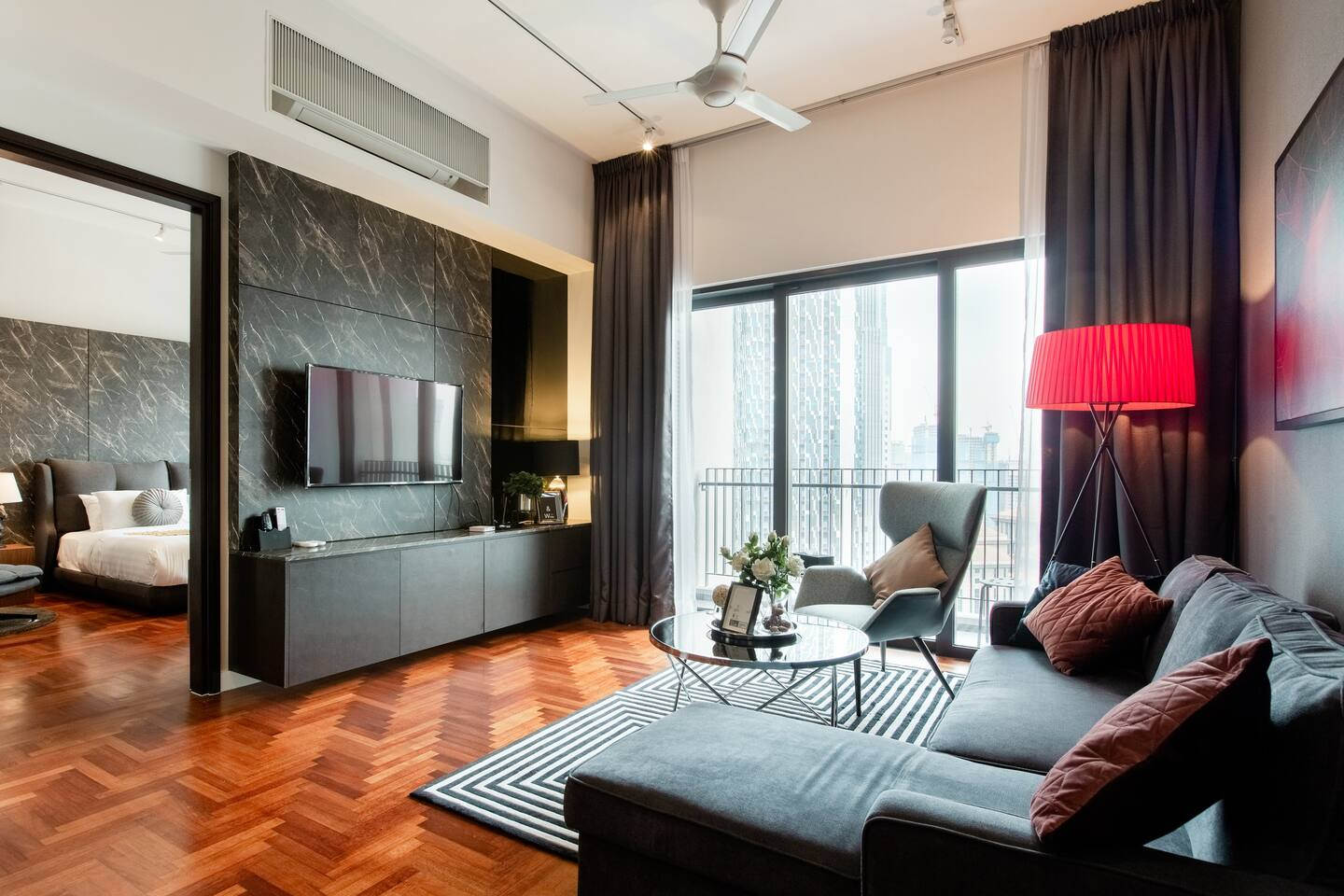 Admire Deluxe Marble Walls at a High-Rise Resort Home